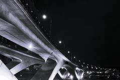 City night scenes of bridge. With dark sky in the evening Royalty Free Stock Images