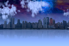 City with night sky Stock Photography