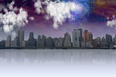 City with night sky Stock Photos