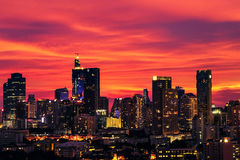 City at night the sky is red. Royalty Free Stock Photography