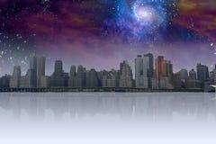 City with night sky Royalty Free Stock Photo