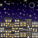 City in the night sky. Vector illustration Royalty Free Stock Image