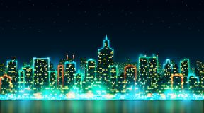 City night skyline with bright lights and windows on the background of the starry sky Stock Image