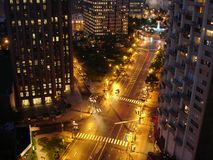 City Night Street. Big City 6-way Crossroad lit with Night Ligths. Downtown of Philadelphia, PA Stock Images