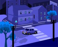 The city at night on the street car rides, illustration in cold and night colors. Vector image Royalty Free Stock Photo