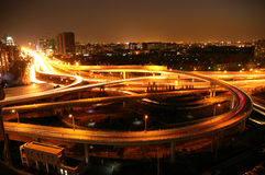 City night. There is heavy traffic in the the corner of second ring road of Beijing at night Royalty Free Stock Images
