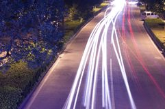 City night traffic. Long exposure of the beautiful city night traffic lines Royalty Free Stock Photography