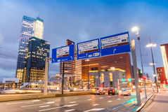 City night traffic on Erasmus Bridge, Rotterdam Royalty Free Stock Photography