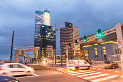 City night traffic on Erasmus Bridge, Rotterdam Royalty Free Stock Photos