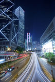 City night traffic with light trails royalty free stock photos