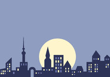 City at night, vector background. With copy space for your text Royalty Free Stock Photo