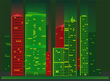 City at night. Vector illustration of apartment blocks in a city at night Stock Photo