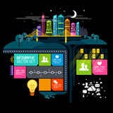 City at Night Vector Illustration Stock Photography