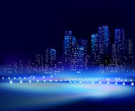 City at night. Vector illustration. Royalty Free Stock Photos