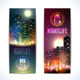City at night vertical banners Royalty Free Stock Photos