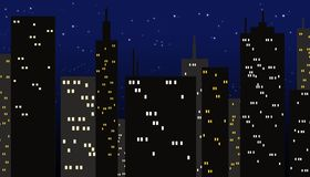 City at night. Very dark buildings with lights on a dark deep blue and starry background, simulating the early night in the city Stock Photography