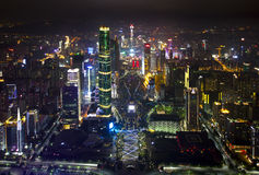City Night View. The night view of Guangzhou city in China from the Canton tower 488 platform Stock Photos