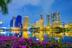 City night view at Benjakitti Park, Bangkok, Thailand Royalty Free Stock Photography
