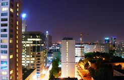 City at night. View of the city, a glass wall, night views, offices, glass facade, glass wall, skyscrapers at night city at night, the lights of the city stock photos