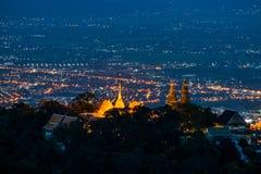 City night view,Prathatdoisuthep temple Stock Images