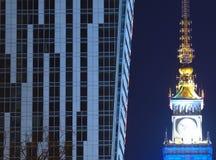 City night. Warsaw night.skyscraper at night, illuminated building, skyscrapers warsaw, city at night stock photos