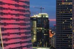 City night. Warsaw night.skyscraper at night, illuminated building, skyscrapers warsaw, city at night stock photo