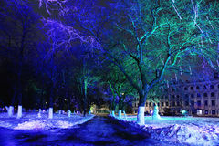 City night winter snow Royalty Free Stock Photo