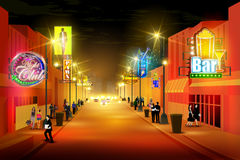 City nightlife of busy street. Easy to edit vector illustration of city nightlife of busy street stock illustration