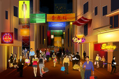 City nightlife of busy street Lan Kwai Fong Hong Kong. Easy to edit vector illustration of city nightlife of busy street Lan Kwai Fong Hong Kong Royalty Free Stock Image