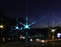 City Nightscape with Starry Lights stock photo
