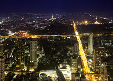 City at nighttime. View over the city of bangkok at nighttime with skyscrapers Royalty Free Stock Images