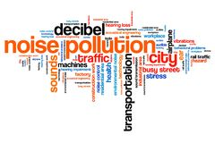 City noise. Noise pollution - urban noise issues and concepts word cloud illustration. Word collage concept Royalty Free Stock Image