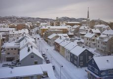 A city in the North. North of the Polar Circle (Norway Royalty Free Stock Photography