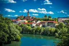 City Novo mesto. The city of Novo mesto with church and river Krka Royalty Free Stock Photography