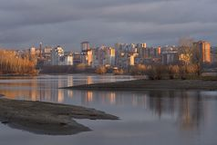 The city of Novosibirsk on the Ob River in the first rays of the sun stock image