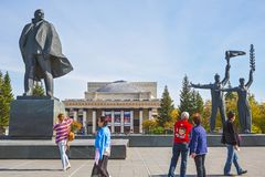 Tourists from China, Lenin square, Novosibirsk state academic Op Royalty Free Stock Photo