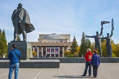 Tourists from China, Lenin square, Novosibirsk state academic Op Royalty Free Stock Photography