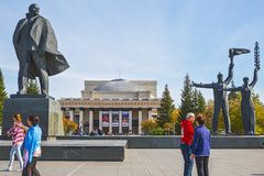 Tourists from China, Lenin square, Novosibirsk state academic Op Royalty Free Stock Images