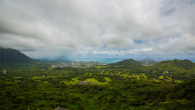 View at Nuuanu Pali Lookout. A city beside Nuuanu Pali Lookout in Oahu stock photography