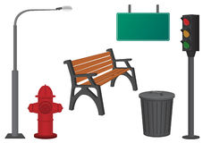 City objects. Dustbin, lamppost, hydrant, traffic light, bench and sign Stock Images