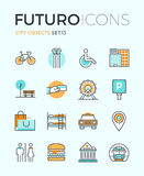 City objects futuro line icons royalty free illustration