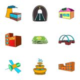 City objects icons set, cartoon style. City objects icons set. Cartoon illustration of 9 city objects vector icons for web Stock Image