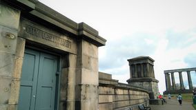 City Observatory entrance and Playfair Monument on Calton Hill, Edinburgh. stock images