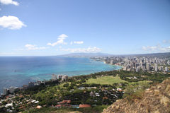 City and ocean view. Nice city and ocean view in Hawaii royalty free stock images