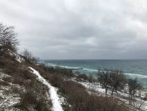 The city of Odessa. Ukraine. Black Sea Coast. Panorama of the Black Sea coast in a snowy Christmas day stock photos