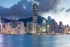 City office building light Hong Kong business downtown seafront night view Royalty Free Stock Photography