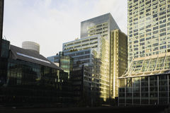 City Office Buildings. Modern office buildings in London UK viewed from the Barbican estate Royalty Free Stock Photo