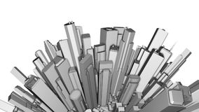 City Office Buildings Aerial Sphere 3D stock footage