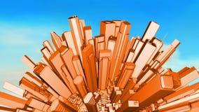 City Office Buildings Aerial Sphere 3D stock video