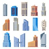 City office buildings. Glass building, modern urban offices exterior and town tall houses isolated vector set. City office buildings. Glass building, modern royalty free illustration